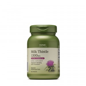 GNC Herbal Plus® Milk Thistle 1300 mg, Extract Standardizat de Silimarina, 60 tb