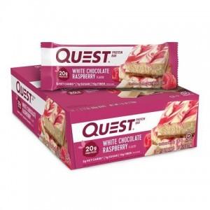 Quest® Protein Bar, Baton Proteic, cu Aroma de Ciocolata Alba si Zmeura, 60g