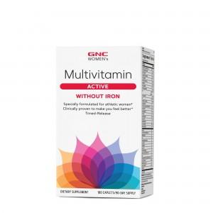 GNC Women's Ultra Mega® Active without Iron, Complex de multivitamine Pentru Femei Fara Fier, 180 tb