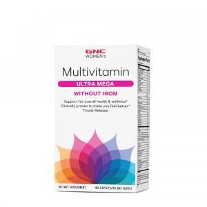 GNC Women's Multivitamin Ultra Mega Without Iron, Complex de Multivitamine Pentru Femei Fara Fier, 180 tb