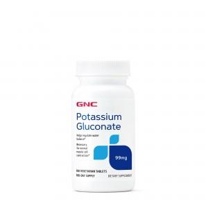 GNC Potassium Gluconate 99 mg, Gluconat de Potasiu, 100 tb