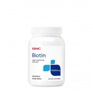 GNC Biotin 5000 mcg, Biotina, 120 cps