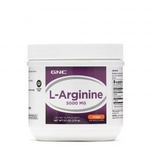 GNC L-Arginine 5000 mg, L-Arginina, Pulbere cu Aroma de Portocale, 270 g