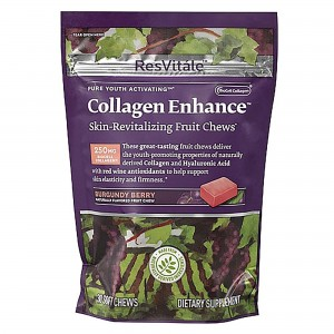ResVitále™ Collagen Enhance™ Skin Revitalizing Chews, Colagen Caramele, cu Aroma de Fructe Burgundy
