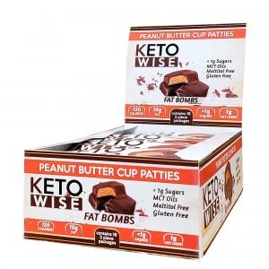 Keto Wise Fat Bombs, Bomboane Invelite in Ciocolata cu Aroma de Unt de Arahide, 34 G