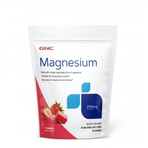 GNC Magnesium 250 mg, Magneziu, cu Aroma Naturala de Capsuni, 60 Caramele