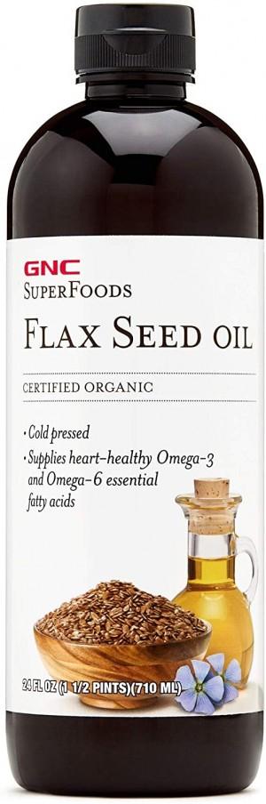 GNC Natural Brand™ Certified Organic Flax Seed Oil, Ulei din Seminte de In Organic, 236 ml