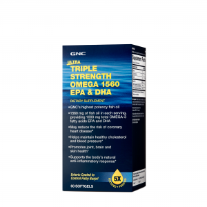 GNC Ultra Triple Strength Omega 1560 EPA & DHA, Ulei de Peste, 60 cps