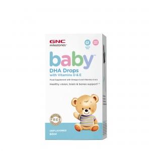 GNC Milestones® Baby™ DHA Drops with Vitamins D & E, Picaturi cu DHA + Vitamina D si E pentru bebelusi, 60 ml