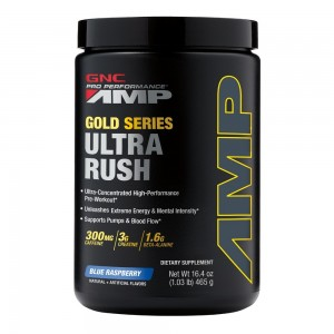 GNC Pro Performance® AMP Gold Series Ultra Rush, Pre-Workout, cu Aroma de Zmeura Albastra, 465 g