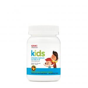 GNC Milestones® Kids Chewable Calcium, Calciu Pentru Copii 4-12 ani, cu Aroma Naturala de Portocala si Lamaie, 60 tb