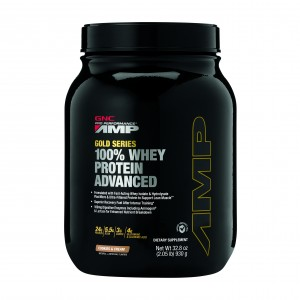 GNC AMP Gold Series 100% Whey Protein Advanced, Proteina din Zer, cu Aroma de Biscuiti si Frisca, 930 g