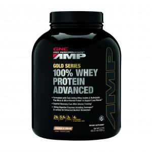 GNC AMP Gold Series 100% Whey Protein Advanced, Proteina din Zer, cu Aroma de Biscuiti si Frisca, 2325 g
