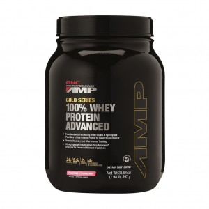 GNC AMP Gold Series 100% Whey Protein Advanced, Proteina din Zer, cu Aroma de Capsuni, 897 g