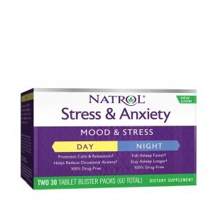 NATROL® Stress & Anxiety, Formula Pentru Zi si Noapte, 30 Blistere