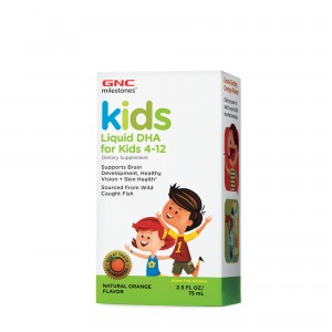 GNC Milestones® Kids Liquid DHA, DHA Lichid Pentru Copii, cu Aroma Naturala de Portocala, 75 ml